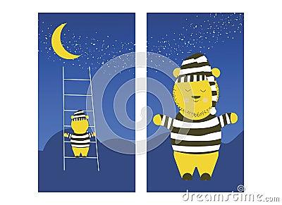 Cute Bear is climbing the moon. Sleepy bear is preparing to climb the moon to sleep. Vector Illustration