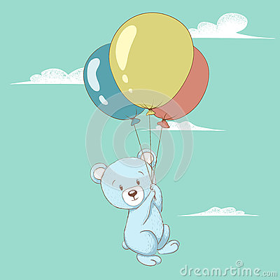 Cute bear flying with balloons. Vector Illustration