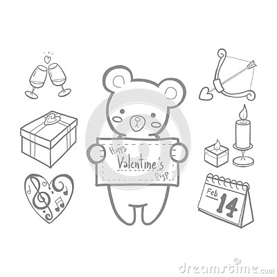 Cute bear and Valentines doodle set Vector Illustration