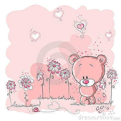 Cute bear holding a flower