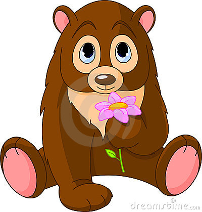 Cute Bear holding flower