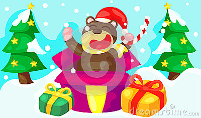 Cute bear with new year presents