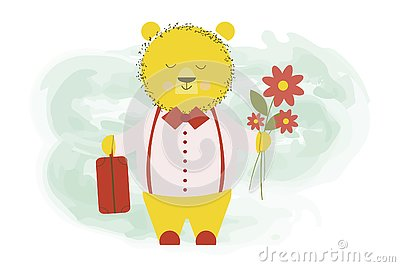 Cute bear returned from a trip with a baggage suitcase and flowers - vector cartoon illustration, character design Vector Illustration