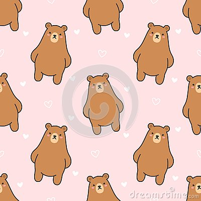 Cute bear Seamless Pattern Background Stock Photo