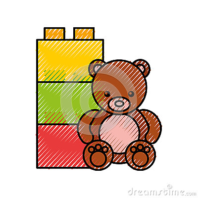 Cute bear teddy icon Vector Illustration