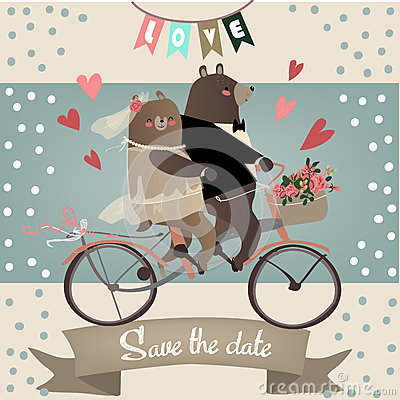 Free Cute Bears On Bicycle Royalty Free Stock Photography - 58710837