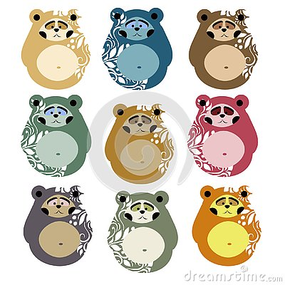 Cute bears for patterns and decoration. Matryoshka style Vector Illustration