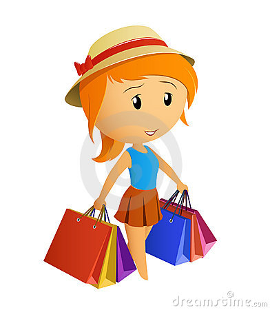 Cute beauty girl in the cap with shopping bags