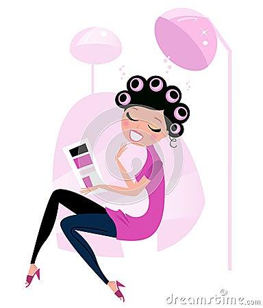 Cute beauty Woman in pink Hair salon.
