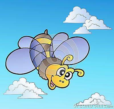 Cute bee on blue sky