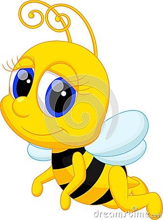 Free Cute Bee Cartoon Royalty Free Stock Photography - 47107527