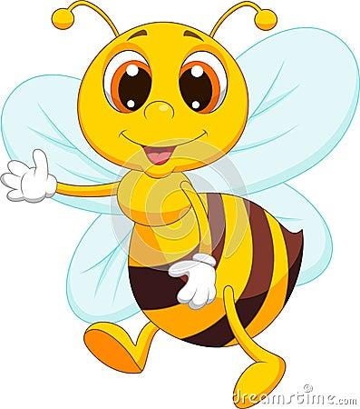 Free Cute Bee Cartoon Waving Royalty Free Stock Photos - 33231248