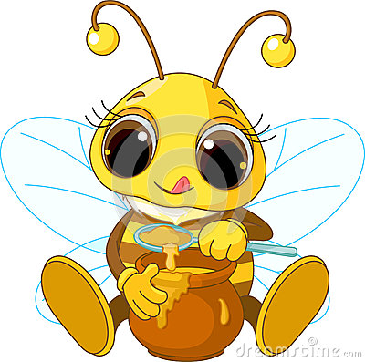 Cute Bee eating honey