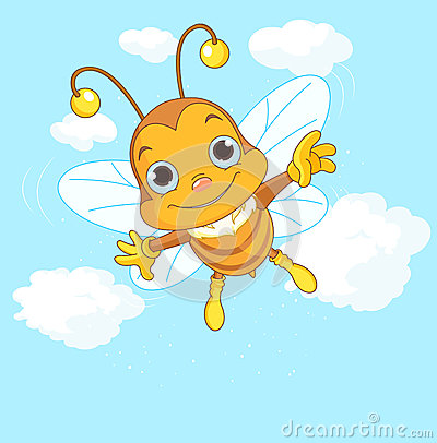 Cute Bee flying in the sky