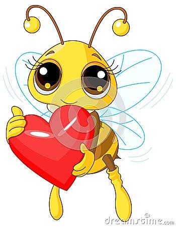 cute love heart pics. CUTE BEE HOLDING LOVE HEART