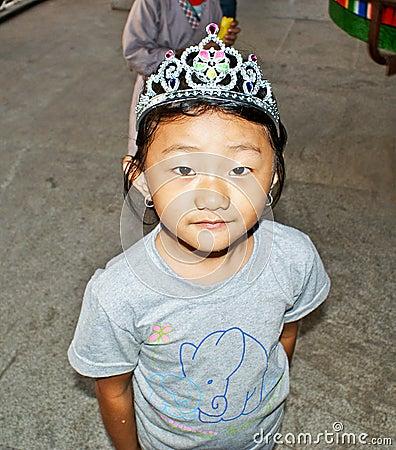 A cute bhutanese girl Editorial Stock Photo