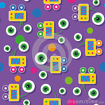 Free Cute Big-eyed Robots Pattern Royalty Free Stock Images - 43511519