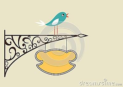 Cute bird and antique signboard