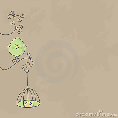 Cute bird on a branch of tree with its cage