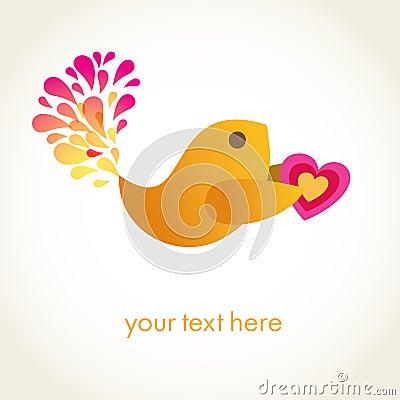 Cute  bird with heart