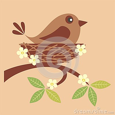 Free Cute Bird In A Nest Royalty Free Stock Images - 36600299