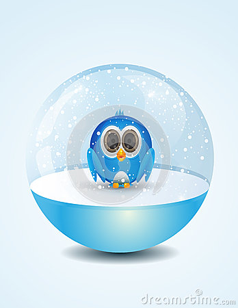 Free Cute Bird Inside Snow Dome Stock Images - 45173374