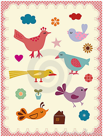 Free Cute Birds Royalty Free Stock Image - 9518606