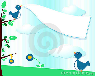 Cute birds and blank banner