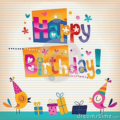 Cute birds Happy Birthday card