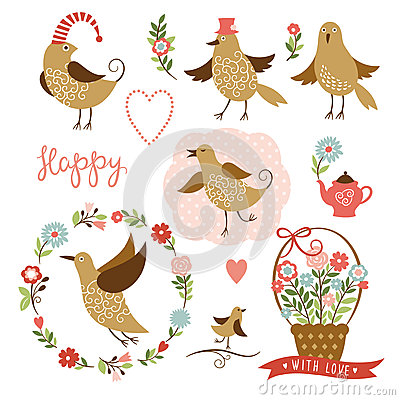 Cute birds, holiday graphic elements, vector colle