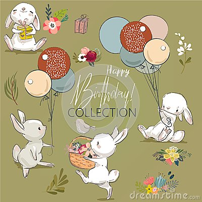 Free Cute Birthday Hares Collection Royalty Free Stock Photo - 114630575