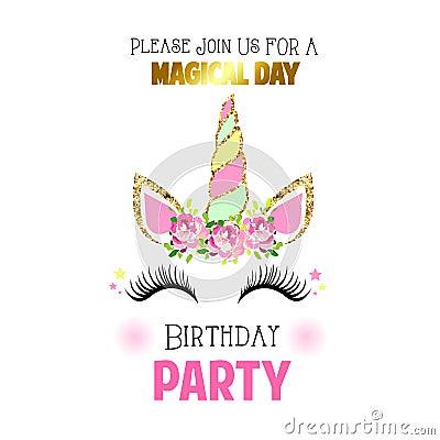 Free Cute Birthday Invitation With Unicorn Royalty Free Stock Photography - 123871427