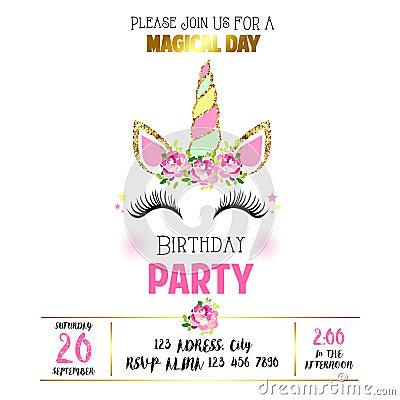 Free Cute Birthday Invitation With Unicorn Stock Photo - 123871500