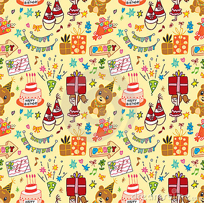 Cute birthday seamless pattern
