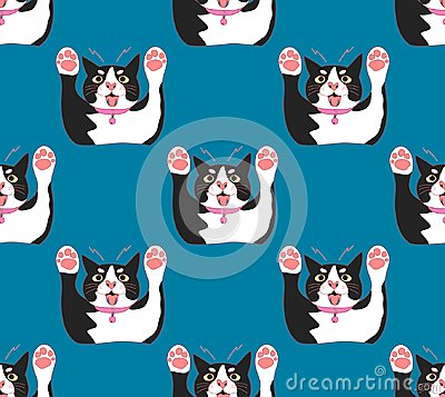 Free Cute Black And White Cat Attack On Indigo Blue Background. Vector Illustration Stock Photography - 109539082