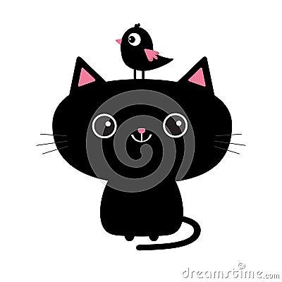 Free Cute Black Cat Icon. Bird Sitting On Head Face. Funny Cartoon Character. Kawaii Animal. Tail, Whisker, Big Eyes. Kitty Kitten. Bab Stock Photography - 97725542