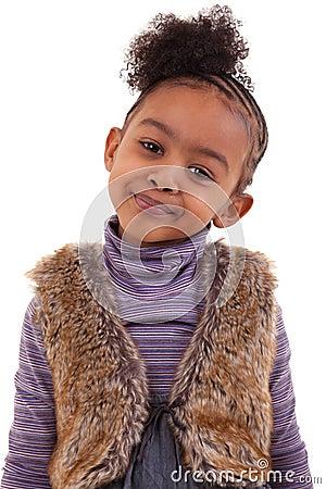 Cute black girl smiling