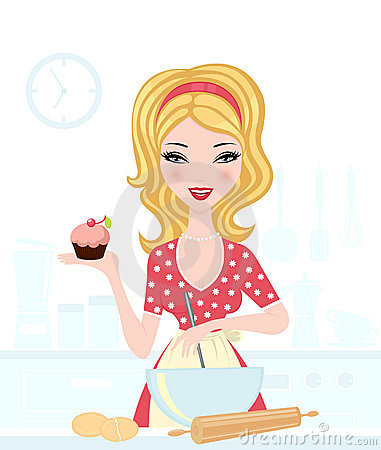 Cute blond baking