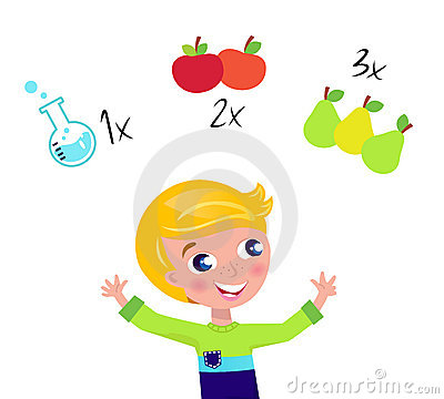 Cute blond boy learning math and counting