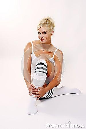 Cute Blond in Knee High Socks