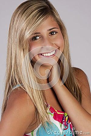 Cute blond teenage girl