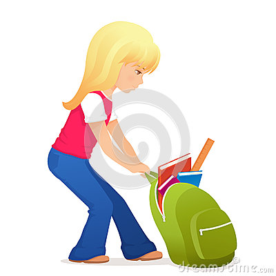 Cute blonde girl with a bit heavy schoolbag