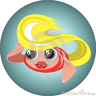 Cute blonde little fish in a circle
