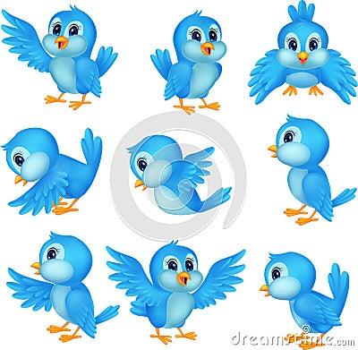 Free Cute Blue Bird Cartoon Stock Photos - 33236843