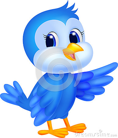 cute blue bird cartoon royalty free stock photos image