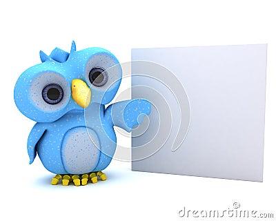 Cute Blue Bird Character
