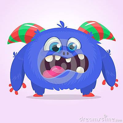 Cute blue monster cartoon with funny expression. Halloween vector illustration of fat furry troll or gremlin monster Cartoon Illustration
