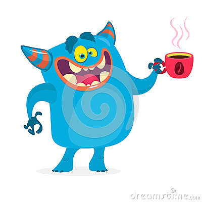 Free Cute Blue Monster Having A Cup Of Coffee In The Morning. Vector Monster Troll Character Stock Images - 97153544