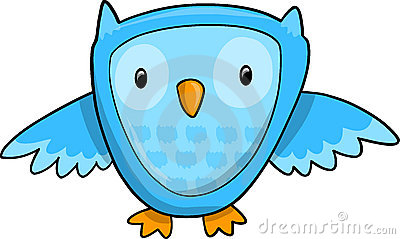 Cute Blue Owl Vector