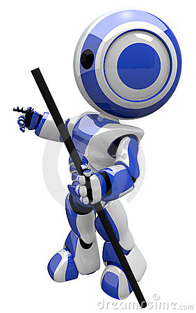 Cute Blue Robot With Hiking Staff